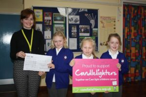 Community Fundraiser Chloe with pupils Fenella, Mia and Francesca.