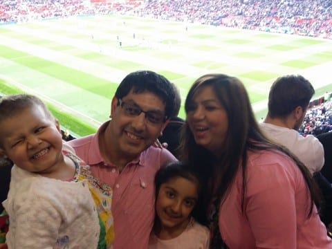 The Sarda family enjoy the Manchester Utd hospitality