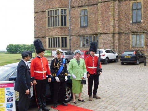 """Liz and Phil"" arrive at Temple Newsam in the Benidorm Jag, to meet their loyal subjects"