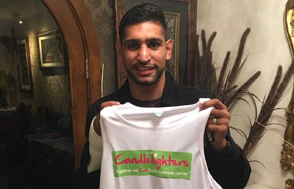 Boxing legend Amir Khan in Candlelighters' corner