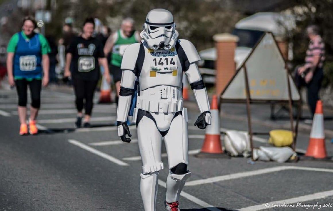 Half stormtrooper, half bride: Daniel puts a spin on race attire!