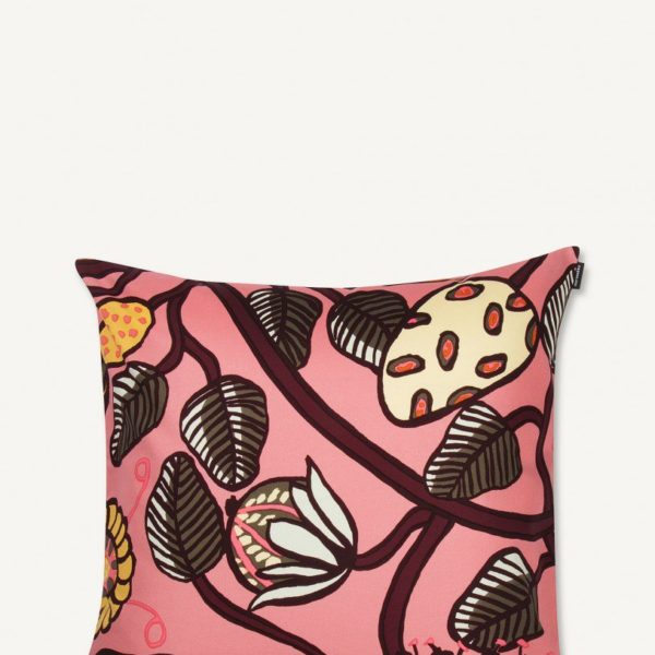cushion for bed in coral pink room