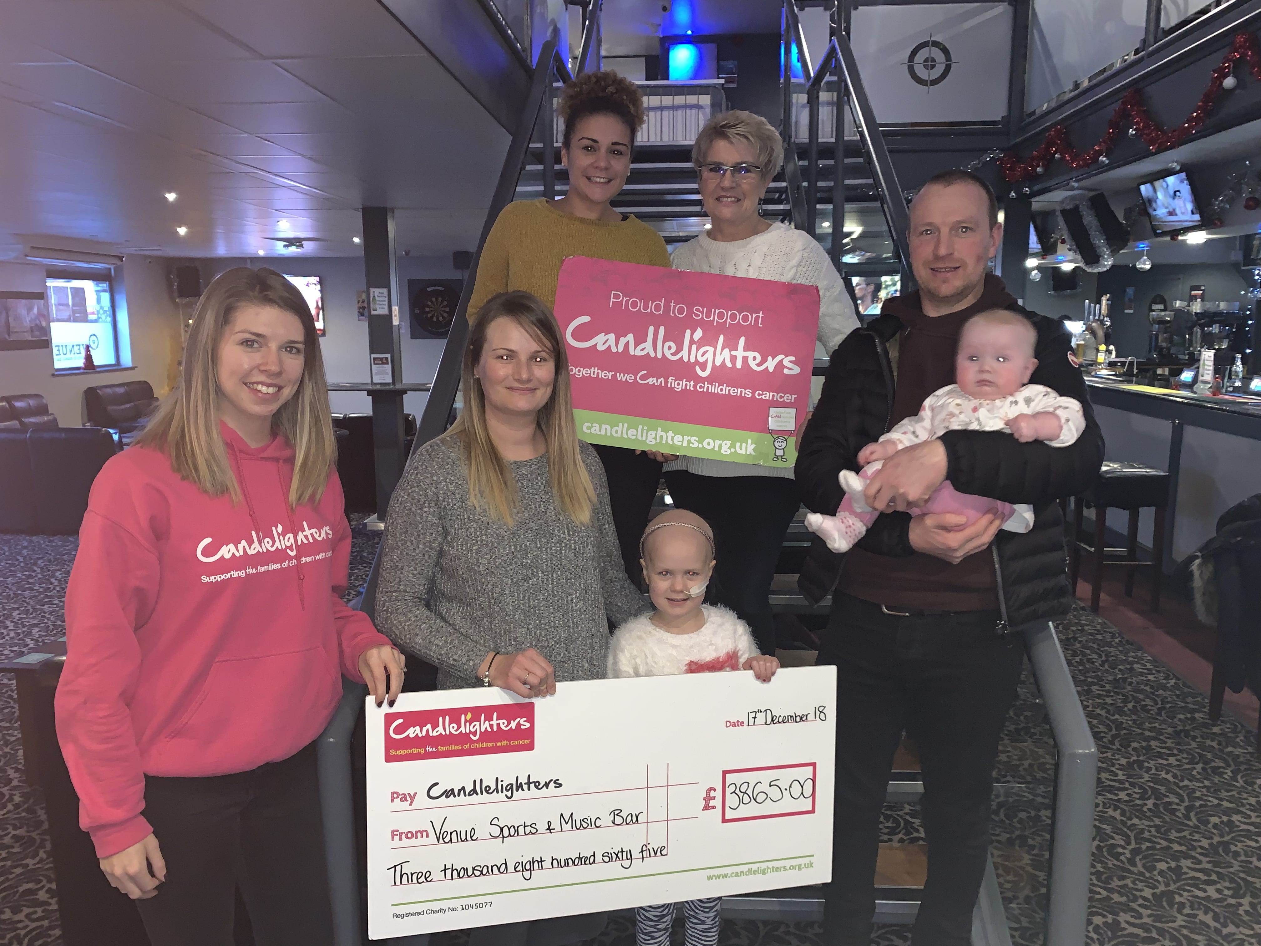 Venue Sports and Music Bar Raise £4915 for Candlelighters!
